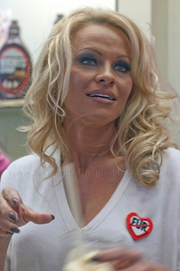 PamAnderson_MOM_lp_040910_1026  Pam Anderson, animal rights activist, pin-up girl, actress, model, celebrity and Dancing With The Stars contestant, introduces a new vegan milkshake at Millions of Milkshakes in West Hollywood, CA 04/09/2010