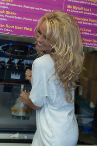 PamAnderson_MOM_lp_040910_1036 Pam Anderson, animal rights activist, pin-up girl, actress, model, celebrity and Dancing With The Stars contestant, introduces a new vegan milkshake at Millions of Milkshakes in West Hollywood, CA 04/09/2010