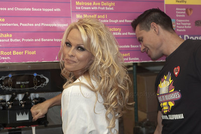 PamAnderson_MOM_lp_040910_1015 Pam Anderson, animal rights activist, pin-up girl, actress, model, celebrity and Dancing With The Stars contestant, introduces a new vegan milkshake at Millions of Milkshakes in West Hollywood, CA 04/09/2010