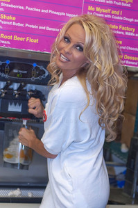 Pam Anderson, animal rights activist, pin-up girl, actress, model, celebrity and Dancing With The Stars contestant, introduces a new vegan milkshake at Millions of Milkshakes in West Hollywood, CA 04/09/2010. Pamela Anderson made vegan milkshakes and handed out samples.