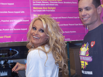 PamAnderson_MOM_lp_040910_1014 Pam Anderson, animal rights activist, pin-up girl, actress, model, celebrity and Dancing With The Stars contestant, introduces a new vegan milkshake at Millions of Milkshakes in West Hollywood, CA 04/09/2010