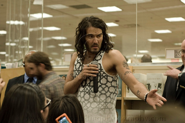 """Russell Brand talking to the audience at in-store appearance to sign copies of his newly released in the United States book, """"My Booky Wook"""" at Barnes and Noble, Los Angeles, CA 05/01/2009"""