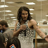 "Russell Brand talking to the audience at in-store appearance to sign copies of his newly released in the United States book, ""My Booky Wook"" at Barnes and Noble, Los Angeles, CA 05/01/2009"