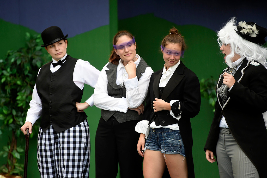 """. Kayla Rice/Reformer (L-R) Cristin Rosinski (Touchstone), Katy Emond (Rosalind), Marion Major (Celia) and Emma Moyna (Le Beau) rehearse \""""As You Like It\"""" for Shakespeare in the Park on Monday evening. The performances will take place June 26-29 at Living Memorial Park."""