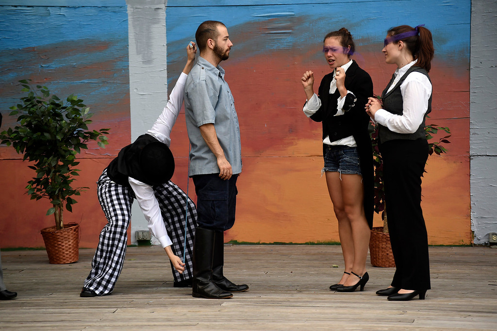 """. Kayla Rice/Reformer (L-R) Cristin Rosinski (Touchstone), Skylar Heathwaite (Orlando), Marion Major (Celia) and Katy Emond (Rosalind) rehearse \""""As You Like It\"""" for Shakespeare in the Park on Monday evening. The performances will take place June 26-29 at Living Memorial Park."""