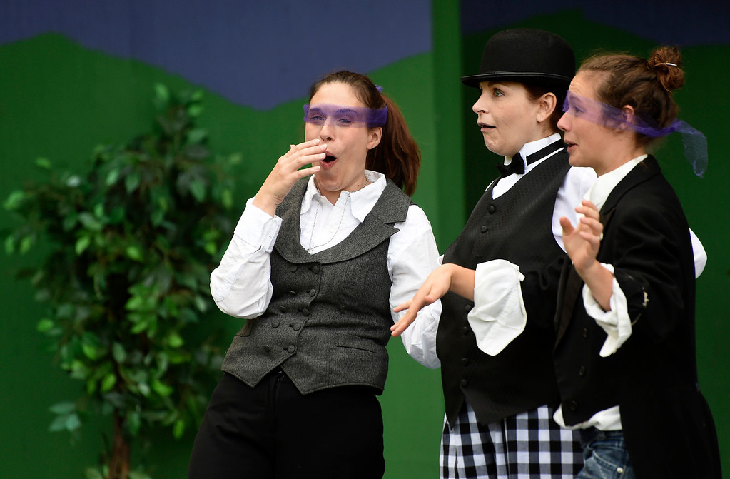 """. Kayla Rice/Reformer (L-R) Katy Emond (Rosalind), Cristen Rosinski (Touchstone) and Marion Major (Celia) rehearse \""""As You Like It\"""" for Shakespeare in the Park on Monday evening. The performances will take place June 26-29 at Living Memorial Park."""