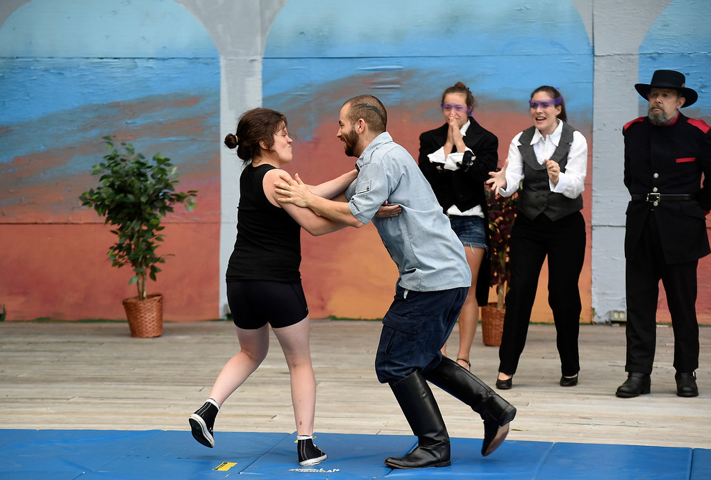""". Kayla Rice/Reformer Kate Maisner (Charles) and Skylar Heathwaite (Orlando) rehearse \""""As You Like It\"""" for Shakespeare in the Park on Monday evening. The performances will take place June 26-29 at Living Memorial Park."""