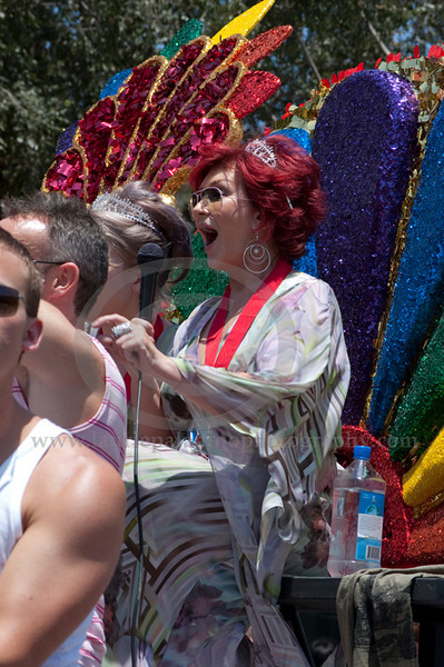 Sharon (foreground) and her daughter Kelly Osbourne serve as Grand Marshalls at The Los Angeles Pride Parade which takes place on Santa Monica Boulevard in West Hollywood, CA June 13, 2010. Sharon and Kelly Osbourne wave at the cheering fans lining Santa Monica Boulevard.