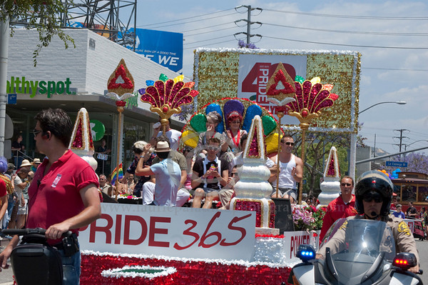 Sharon Osbourne and her daughter Kelly ride on a colorful float and serve as Grand Marshalls for The Los Angeles Pride Parade which takes place on Santa Monica Boulevard in West Hollywood, CA June 13, 2010