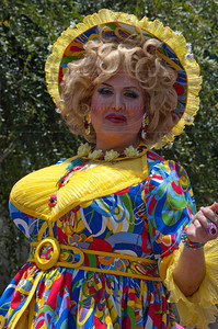 A colorfully dressed participant in The 40th Annual Los Angeles Pride Parade which takes place on Santa Monica Boulevard in West Hollywood, CA June 13, 2010