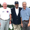 "Photo courtesy of Bill Blank<br /> Dr. Vince Patton (center) served as the Coast Guard master chief petty officer for four years until his 2002 retirement. He narrated ""Gardens of Stone"" with Dean Dorrell, who portrayed Abraham Lincoln, as the orchestra played, then met the two Coast Guard veterans who stood during the ""Armed Forces Tribute,"" Greg Westrup (left), Greensburg, and Ron Johnson, Batesville."