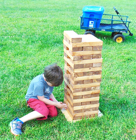 Diane Raver | The Herald-Tribune<br /> Parker Smith, 6, Batesville, was very interested in the giant Jenga pieces.