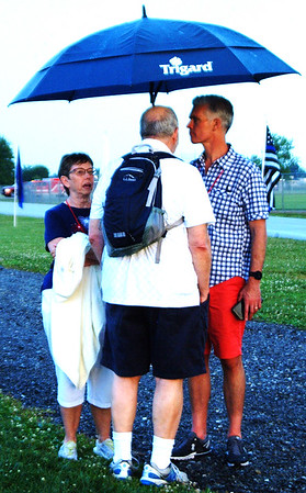 Debbie Blank | The Herald-Tribune<br /> Joe Raver (right) chats with an uncle and aunt, Dave and Carol Raver. All three live in Batesville.