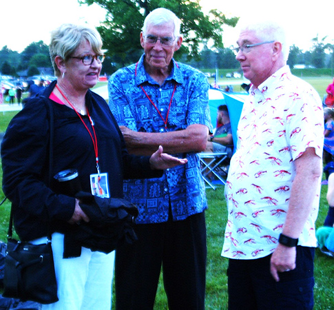 Debbie Blank | The Herald-Tribune<br /> State Rep. Cindy Ziemke (from left) and husband Tim, Batesville, visit with Mayor Mike Bettice.
