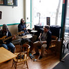 Holly Pelczynski - Bennington Banner Members of the band That Strange play some jazzy beats for patrons at South St. Cafe on Thursday afternoon in Bennington.