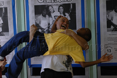 """The Chefsters"" actor Alex Ortiz lifts co-star Ruthergains ""RG"" Fleuridor at Los Angeles ""The Chefsters"" press screening 03/01/2009"
