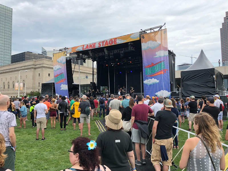Mark Meszoros -- The News-Herald<br /> Folks watch Northeast Ohio-based alt-rock band perform a mid-afternoon set at the InCuya Music Festival.