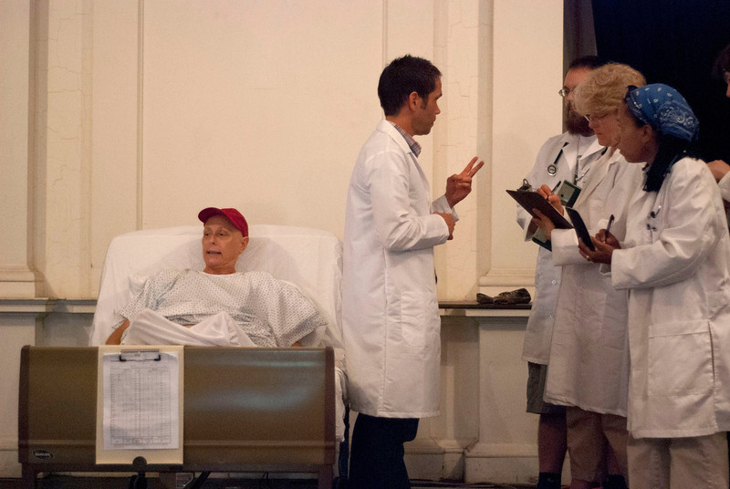 Kayla Rice/Reformer               <br /> Cancer patient, Dr. Vivian Bearing (Keely Eastley) is used by Dr. Jason Posner (Mark Bateman) as a case study for medical students (from left- Ben Stockman, Carrie Kidd and Ann-Marie White) to study. Margaret Edson's Pulitzer Prize winning play, Wit, directed by Hallie Flower will open Thursday July 11th at Next Stage in Putney.