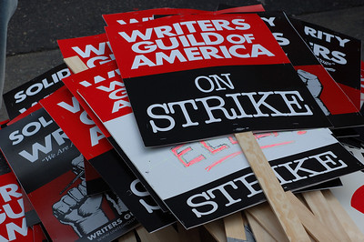 A pile of WGA Strike Signs in Hollywood California November 20, 2007.