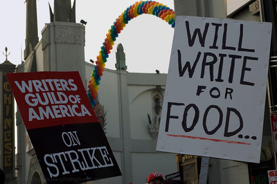 Writers Guild of America strike signs outside Chinese Theater on Hollywood Boulevard during WGA Rally November 20 2007.