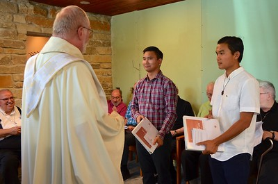 Fr. Ed welcomes the novices to the novitiate