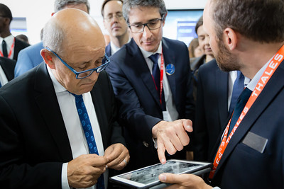 Paris Air Show, 17-20 June 2019. Jean-Yves, French Minister of Europe and Foreign Affairs visiting Thales stand.  Photographic cover for the Thales company.  © 2019  Alexandre - LIGHT EX MACHINA , all rights reserved.