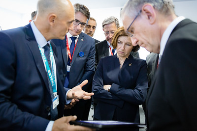 Paris Air Show, 17-20 June 2019. Florence Parly, French Minister of Army, visiting Thales stand.  Photographic cover for the Thales company.  © 2019  Alexandre - LIGHT EX MACHINA , all rights reserved.