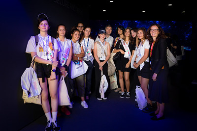 "Paris Air Show, 17-20 June 2019. ""Feminize the aeronautics and space professions"", picture used in the article ""Féminisons les métiers de l'Aéronautique et de l'Espace"" ( https://www.thalesgroup.com/fr/monde/espace/news/feminisons-metiers-laeronautique-et-lespace ).  Photographic cover for the Thales company.  © 2019  Alexandre - LIGHT EX MACHINA , all rights reserved."