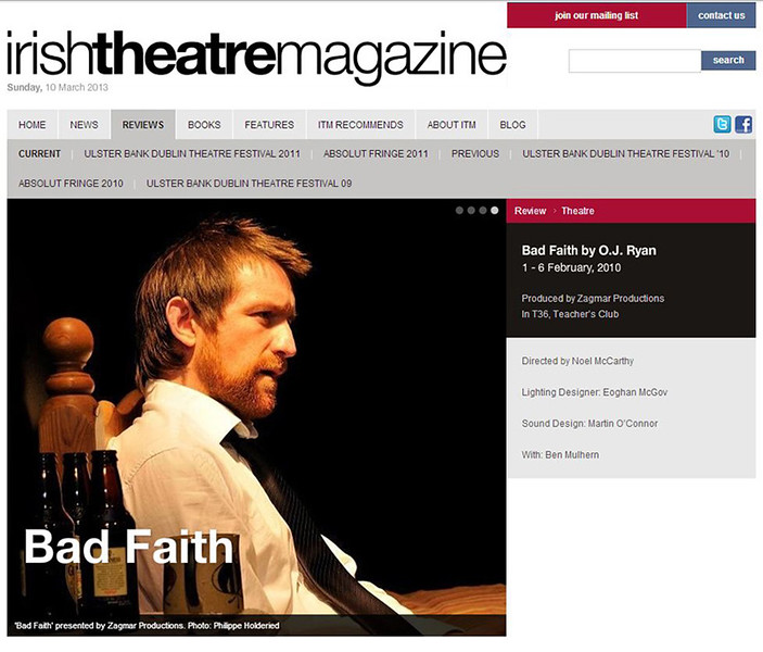Editorial - Irish Theatre Magazine -