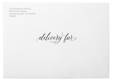 Delivery For Formal on White Envelope