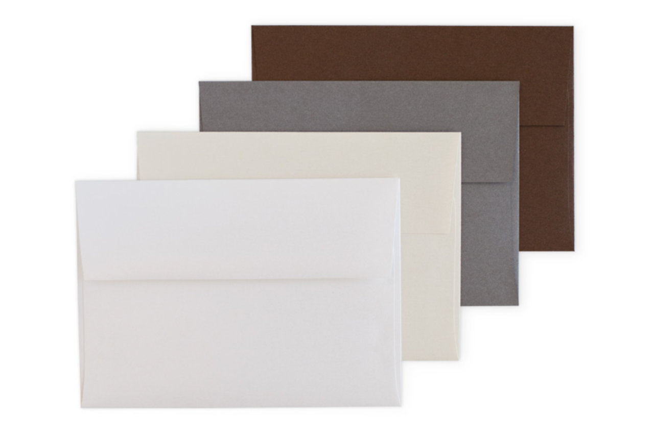 Pearl Envelopes: White, Cream, Steel, and Bronze