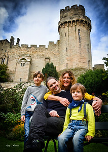 Family at Mill Gardens near Warwick Castle