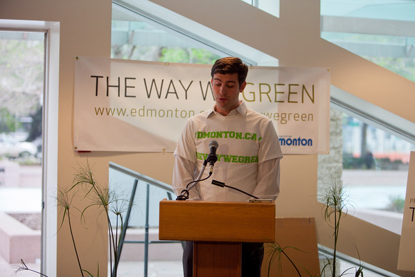 Councillor Don Iveson speaks during the media launch for The Way We Green.