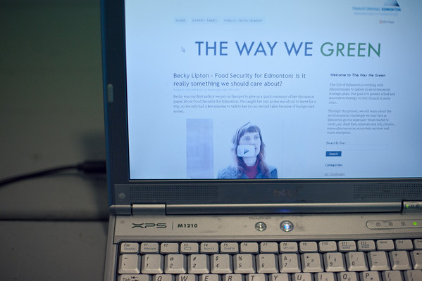 Showcasing thewaywegreen.ca during the media launch for The Way We Green.