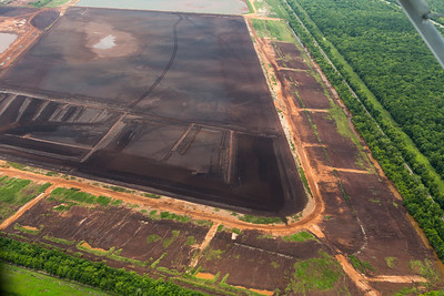 Noranda Alumina  - Orange pits of aluminum smelting waste.