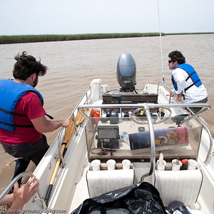 Shallow muddy waters of the Delta was not the RIVERKEEPER vessel's friend on this day.
