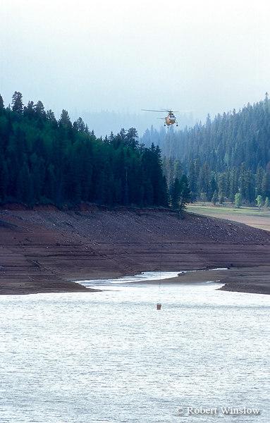 Helicopter filling water bucket, Lemon Reservoir, Missionary Ridge Fire, 2002, San Juan National Forest near Durango, Colorado