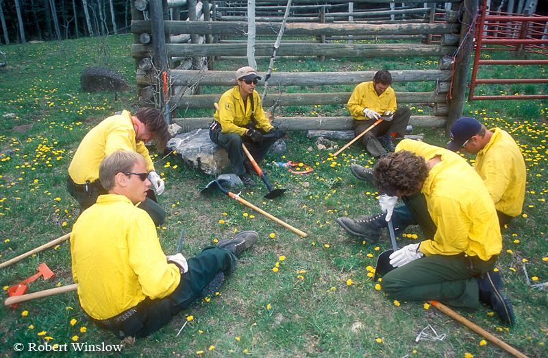 NoMR, San Juan Interagency Hotshot Crew Working on Tools, US Forest Service, San Juan National Forest, Colorado