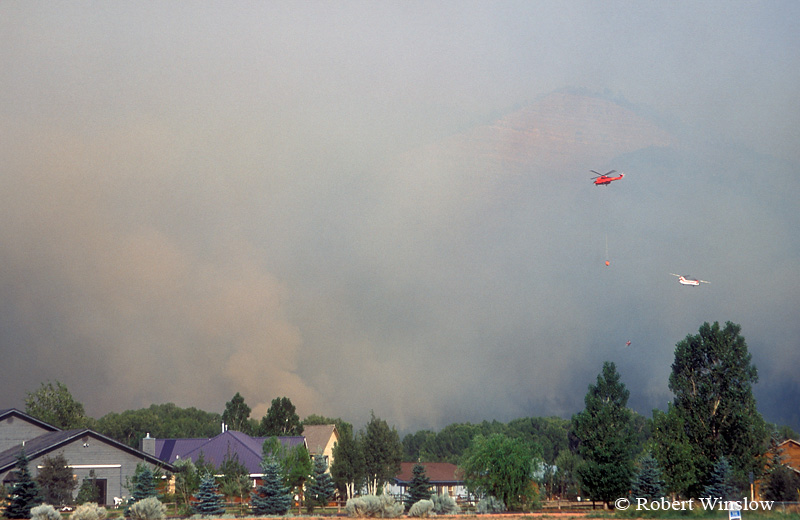 Two Helicopters working the Missionary Ridge Fire, 2002, San Juan National Forest near Durango, Colorado