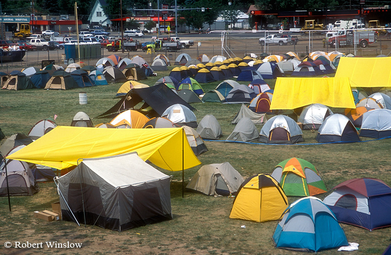 Tents of Firefighters, Missionary Ridge Fire, 2002, San Juan National Forest, Durango, Colorado