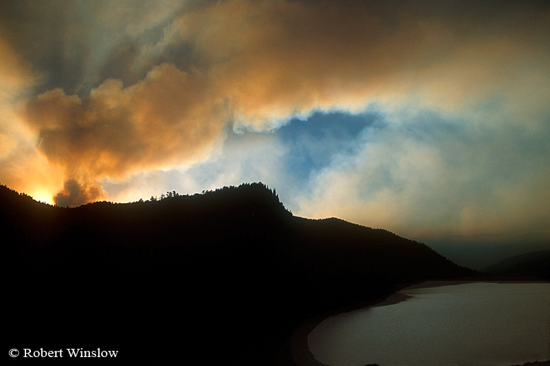 Sunset, Lemon Resevoir, Missionary Ridge Fire, 2002, San Juan National Forest near Durango, Colorado