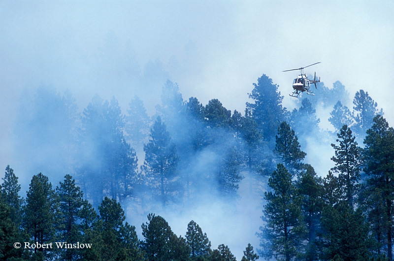 Helicopter That Drops Chemical-Filled Spheres to Ignite Prescribed Burn, San Juan National Forest near Durango, Colorado