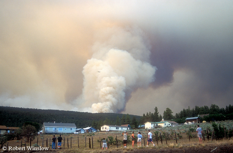 People watching Missionary Ridge Fire, 2002, Forest Lakes area near Durango, Colorado, Slurry Bomber in center of photo