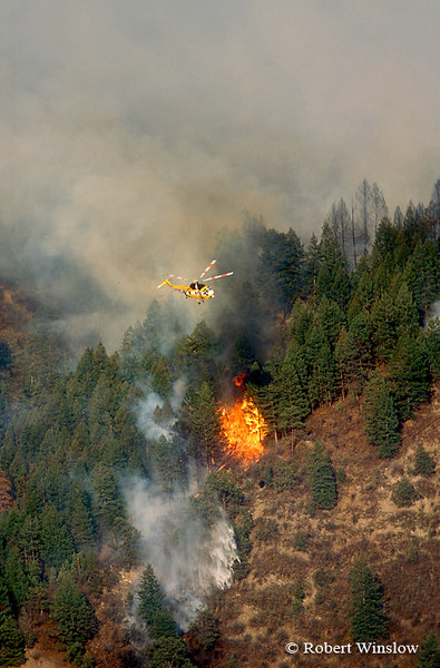 Helicopter Dropping Water, Missionary Ridge Fire, 2002, San Juan National Forest near Durango, Colorado