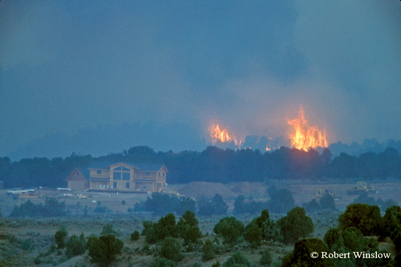 NoPR, Forest Fire near a New Home being Constructed near Mancos, Colorado