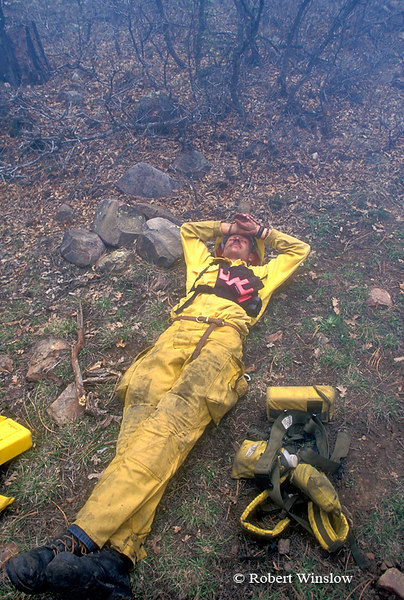 MR, US Forest Service Worker Resting During Prescribed Burn, San Juan National Forest, Colorado