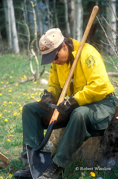 NoMR, Woman, San Juan Interagency Hotshot Crew Working on Tools, US Forest Service, San Juan National Forest, Colorado
