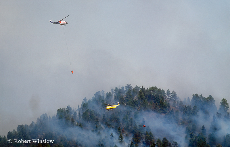 Two Helicopters working Missionary Ridge Fire, 2002, San Juan National Forest near Durango, Colorado