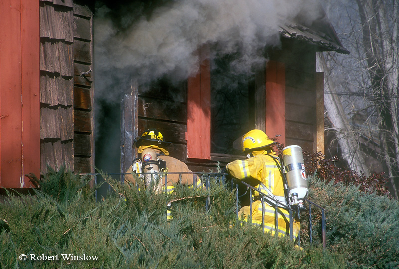 Two Firefighters Entering a House on Fire, Colorado