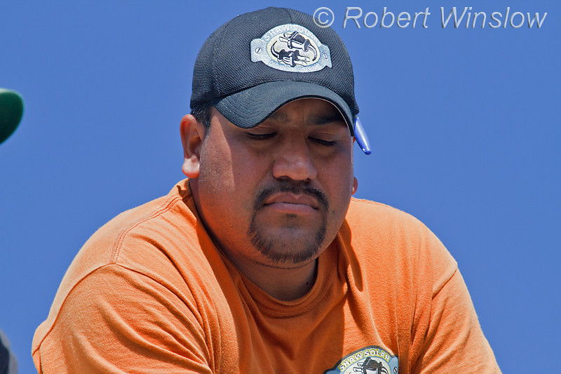 Model Released, Mexican-Worker on Photovoltaic installation project